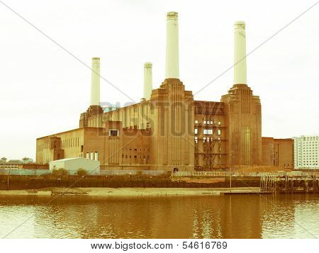 Retro Looking London Battersea Powerstation