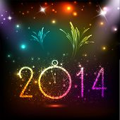Happy New Year 2014 celebration flyer, banner, poster or invitation with colorful shiny text, clock