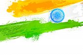 picture of asoka  - easy to edit vector illustration of Grungy Indian Wallpaper with flag colors - JPG