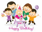 pic of blow-up  - Illustration of a baby girl blowing candle and family cheering her up - JPG