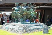 Hula Kahiko Women Dancers Statue In Kona At Keahole International Airport