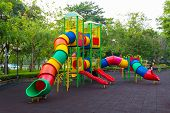 stock photo of playground  - Colorful children playground in the public park