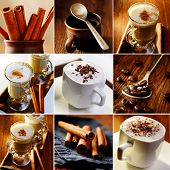 stock photo of cinnamon  - coffee collage set of images a cup of coffee with foam and chocolate latte spoon and cinnamon rolls - JPG