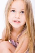 image of little young child children girl toddler  - Beautiful little girl with long blonde hair - JPG