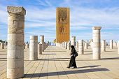 RABAT, MOROCCO - OCTOBER 15 2013: Hassan Tower is the minaret of an incomplete mosque .Begun in 1195