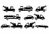 stock photo of wreckers  - Tow truck silhouette set on a white background - JPG