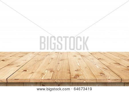 Empty wooden table in a sun for product placement or montage poster