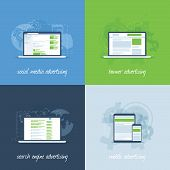 stock photo of cpa  - Internet marketing and advertising concepts in flat vector template - JPG
