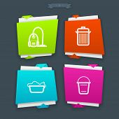 picture of wash-basin  - Cleaning items and other related cleaning tools from left to right -  Vacuum cleaner Waste bin Wash basin Bucket Folded Vector Icons Set saved as a EPS v.10. - JPG