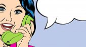 stock photo of secretary  - woman chatting on the phone pop art illustration in vector format - JPG