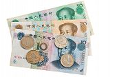 picture of zedong  - Chinese banknotes and coins on white background - JPG