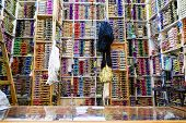 image of nouns  - Shelves of colorful cotton reels in Tangier - JPG