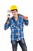 stock photo of shoulder-blade  - man holding a machete and a helmet - JPG