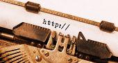 stock photo of old vintage typewriter  - Vintage inscription made by old typewriter http - JPG