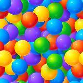 stock photo of gumballs  - Rainbow colors glossy balls vector seamless pattern - JPG