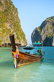 image of koh phi-phi  - Longtail boat in Maya Bay - JPG