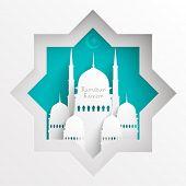 pic of hari raya  - Vector 3D Paper Mosque - JPG