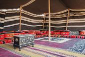 picture of oman  - Tent desert camp Wahiba with wooden chest in Oman - JPG
