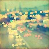 image of speeding car  - Abstract blurred cityscape background with bokeh effect - JPG