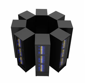 stock photo of supercomputer  - Server racks arranged in cluster isolated on white background - JPG