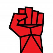 pic of revolt  - Fist red clenched hand vector - JPG