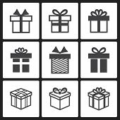 picture of isolator  - Vector Gift box black icons  isolated on a white background - JPG