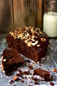 picture of chocolate fudge  - Chocolate sweet cake with nuts - JPG