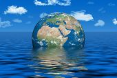 stock photo of global-warming  - Abstract photo of our earth under water  - JPG