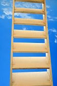 pic of stairway to heaven  - Zoom of wooden stairs to heaven on blue sky - JPG