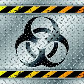 picture of tripe  - Bio hazzard warning sign on metallic plate with triped warning sign - JPG