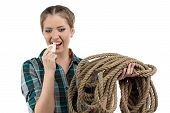 picture of death penalty  - Image of young woman with the soap and twine on white background