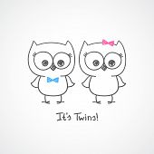 stock photo of baby twins  - vector little owls twins - JPG