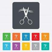stock photo of barbershop  - Scissors cut hair sign icon - JPG