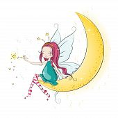 stock photo of magic-wand  - Cute Christmas fairy with magic wand - JPG