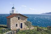 pic of argo  - The lighthouse in the area of Astros Peloponnese Greece overlooking the Aegean sea - JPG