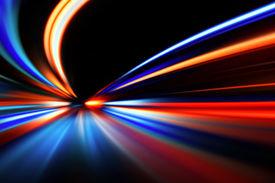 foto of flashing  - flash acceleration speed motion on night road - JPG