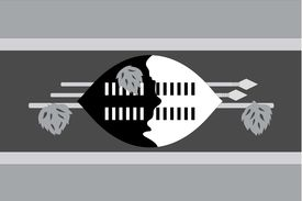 picture of grayscale  - An Illustrated grayscale flag of the country of Swaziland - JPG