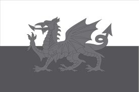 stock photo of grayscale  - An Illustrated grayscale flag of the country of Wales - JPG