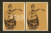stock photo of bachelor party  - Set of Stag party posters - JPG