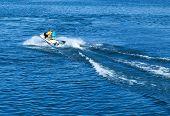 image of water jet  - mans on jet ski water sea  speed waverunner - JPG
