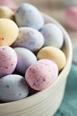 foto of easter candy  - Sweet Sugary Easter Candy in a Bowl  - JPG