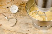 stock photo of food preparation tools equipment  - Food processor with beater tool preparing dough for a cake - JPG
