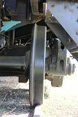 pic of train-wheel  - Train wheel front view perspective close up - JPG