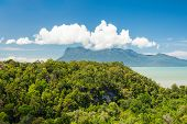 stock photo of jungle exotic  - Tropical landscape aerial over jungle and hills - JPG