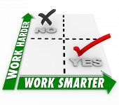 Постер, плакат: Work Smarter Vs Harder words on a matrix to illustrate choices in job or task efficiency or producti