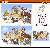 foto of spotted dog  - Cartoon Illustration of Finding Differences Educational Game for Preschool Children - JPG