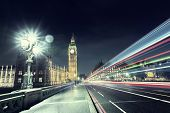 picture of london night  - Big Ben from Westminster Bridge - JPG