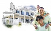 foto of family planning  - Happy African American Family Over House Drawing and Photo Combination on White - JPG