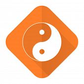 foto of ying-yang  - ying yang orange flat icon   - JPG