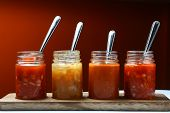 foto of dipping  - Photo of different Mexican food dips and sauces in bottles - JPG